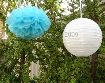 Aqua Blue Pom Poms & White Paper Lanterns for Wedding Engagement Anniversary Birthday Party Bridal Baby Shower Venue Decoration