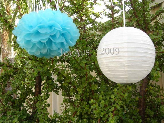 Aqua Blue Pom Poms & White Paper Lanterns for Wedding Engagement Anniversary Birthday Party Bridal Baby Shower Decoration