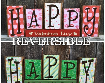 REVERSIBLE Valentine's & St. Patrick's day wood  blocks-Happy Valentine's day reverses with Happy St. Patrick's day