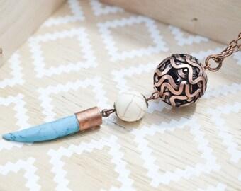 Long pendant necklace - copper necklace boho - Ethnic horn necklace - turquoise necklace - necklace stone gems - choice of length