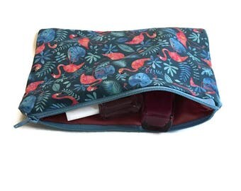 Vanity case - pattern pink flamingos and leaves