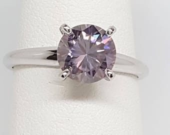 1.45ct Round Lavender Moissanite Diamond 14kt White Gold Ring Size 7.5