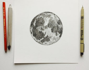8x8 Woodland Full Moon Detailed Ink and Charcoal Drawing by MyImaginationInInk