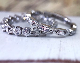 """French Cut Diamond """"Bailey"""" Partial Eternity Band by CvB  Style"""