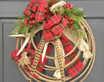 CUSTOM ORDER WREATH Western Country Christmas Lariat Antler Rope Wreath