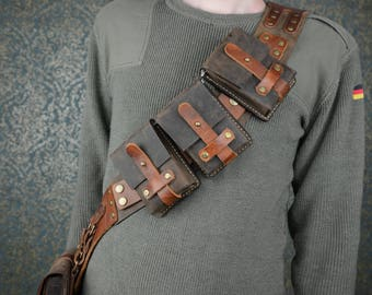 Steampunk Adventurer Leather Bandolier Chest Belt