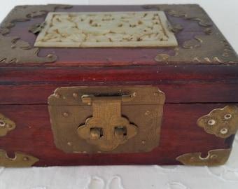 Asian Wood and Jade Jewelry Box. Chinese Jade and Wood Jewelry Box. Collectible Asian Wood Box, Brass Hinges, Ornate Jade Inlaid .