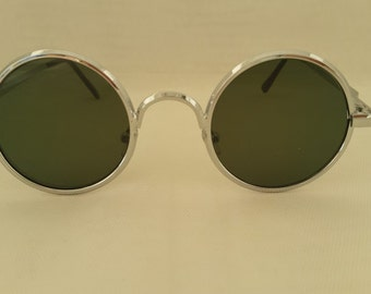 Vintage Silver Circle Sunglasses. Perfectly Round Silver Sunglasses. Green Lenses Round Vintage Sunglasses. Optical Quality Round Sunglasses