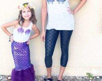 Mermaid Seashell Glitter Clam Shell Bra Sparkly Custom Color Baby Girls Womens Adult Costume bodysuit  t shirt tank top