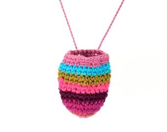 Amulet necklace - chakra necklace - crochet pouch - medicine pouch necklace - medicine bag necklace - coin pouch