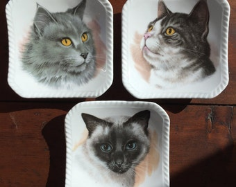 Trinket Dish Three Felines Fine Bone China by Royal Adderley