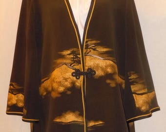 Silk jacket / duster unique design from Japanese kimono. Special occasion jacket Black. Size XL Plus size. Recycled kimono silk; #L66