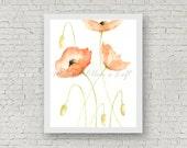 "Poppies painting, art print, mixed media, ""Poppies"""