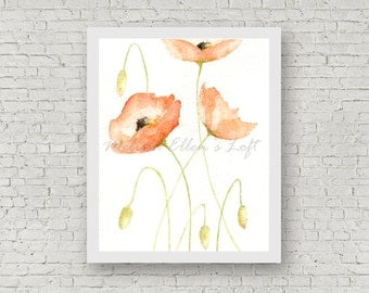 "Poppies painting, art print, mixed media, ""Poppies"""
