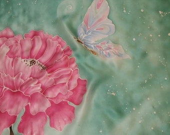 """Hand painted Silk shawl """"peony and butterfly"""""""