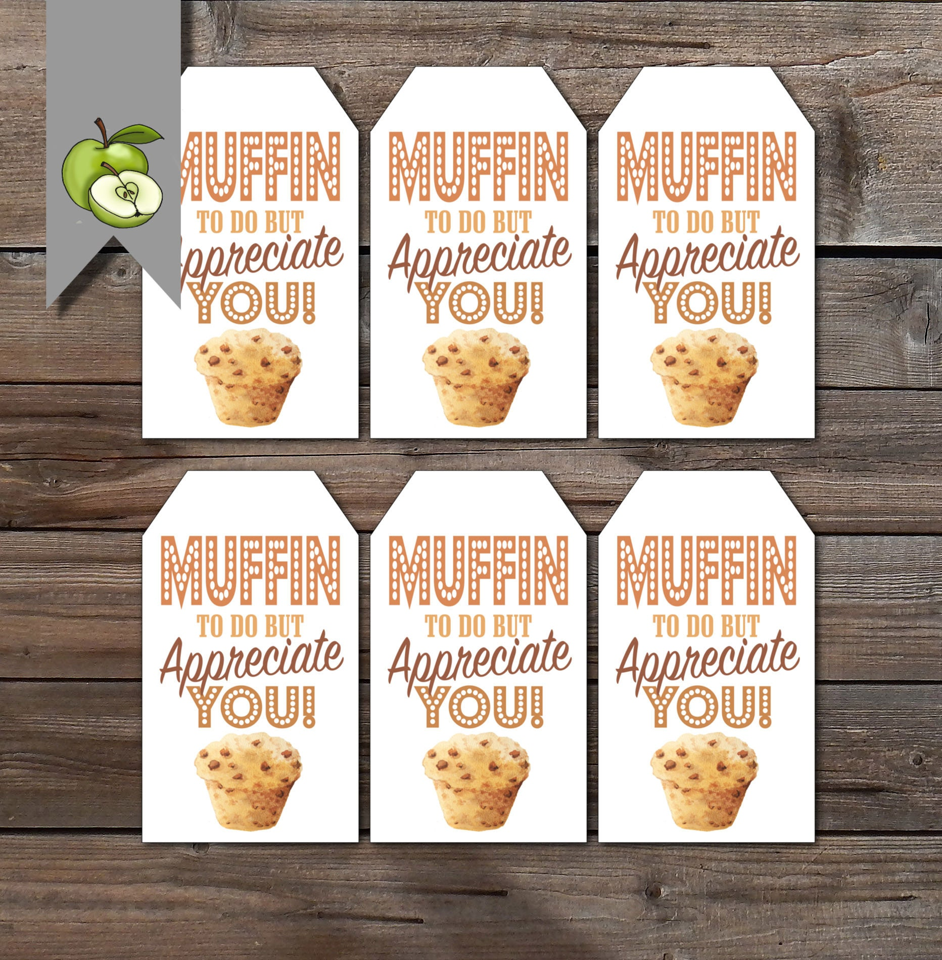 Muffin tags appreciation tags Appreciation Gift Tag Thank