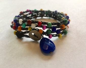 Crochet wrap bracelet multicolor