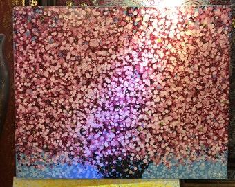 "Spring Cherry Blossom  - Acrylic painting Original 30"" X 40"""