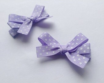 Lilac purple polka dot print bows girls grosgrain ribbon hair clips
