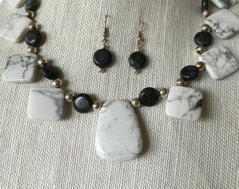 Stone Beaded necklace and earrings- greys, white, silver beads