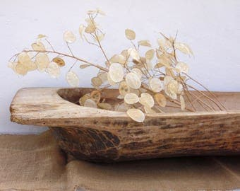 Antique Long Primitive Wooden Dough Bowl - Antique Natural Wood Long Dough Bowl - Hand Carved - Country Cottage Chic