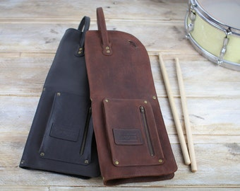 Leather drumstick bag with zip, vintage style, leather stick bag, drumstick case, drumstick holder, drumsticks bag, retro style