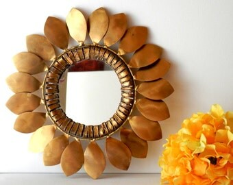 Curtis Jere, Sunflower Mirror, Brass Wall Mirror, Signed C.Jere, Midcentury Modern Art