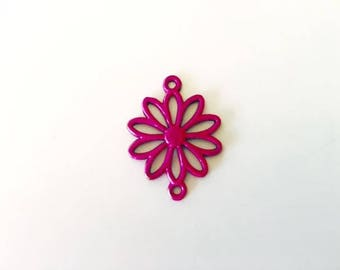 2 Daisy Connectors, Daisy charms, flower charms, pink daisy, pink connector, USA ships fast