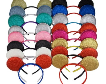 """You Pick Colors - 2.75"""" Mouse Ears on Satin Lined Headband - Craft Supply - HB-MME"""