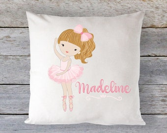 Pillow, Ballernia Pillow, Dance Pillow, Personalized Pillow, Travel Pillow, Girls Pillow, Microfiber Pillow, Dance, Dance Gift, RyElle