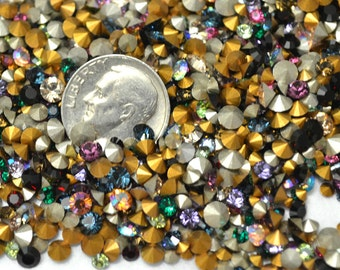 150 Plus Swarovski Rhinestone assorted color and size Mix  Chaton Pointed Back Foiled  Crystal Clay Jewelry Making Dollhouse Christmas Trees