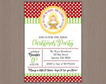 Christmas Party Invitation 5x7 - Digital or Printed by us! Manger, Baby Jesus, Happy Birthday Jesus, Christian, Joy to the World
