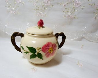 Vintage 1950s, Sugar Bowl with Lid by Franciscan in Desert Rose with USA Backstamp with Brown TV Shape