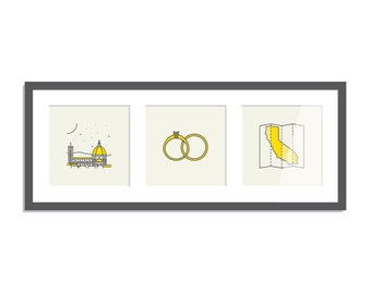 Choose Your Own Adventure - 3 x life inspired mini screen prints in a custom frame