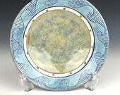 Nautical blue ceramic salad bowl, nautical pottery, sgraffito pottery, jewelry bowl, trinket dish, nautical decor, side plate
