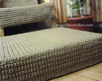 Jute Ottoman, Large Floor Cushion, Rectangular, Stuffed Ottoman, Floor  Seating Cushion,