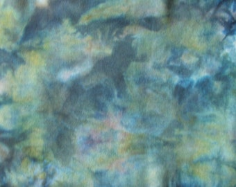 Wool Fat Quarter, Hand Dyed, Multi Colored Green Yellow-Green, Blue  / for Quilting, / Rug Braiding  / Rug Hooking,