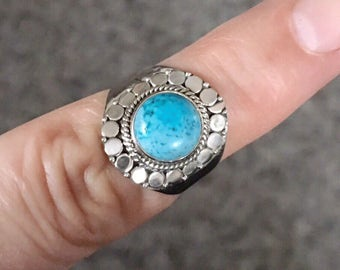 SALE Amazing, sleeping beauty turquoise 925 sterling silver ring