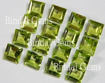 25 Pieces Peridot Square faceted Cut Gemstone