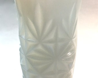 Vintage Retro Mid Century Modern White Milk Glass Cut Glass Vase