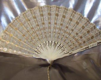 Antique French Fan, French Victorian Wedding Fan