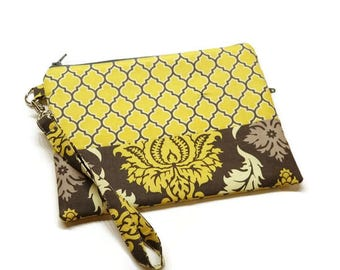 Women zippered phone clutch wristlet wallet purse.  Yellow and charcoal quatrefoil and damask. Gift for her.