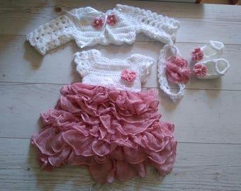 Handmade newborn dress , bolero, shoes and headband in white pink, baby girl dress, infant clothes, bring home dress, wedding dress