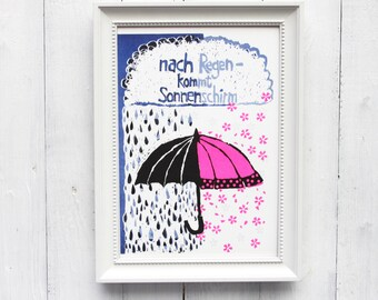 umbrella wall art riso print neon pink parasol think positive
