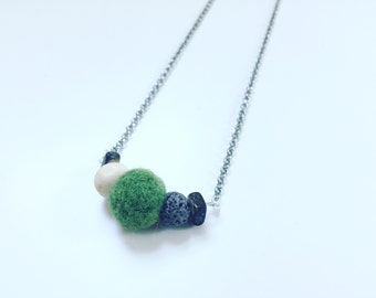 Army Green Wool Necklace, Essential Oil Diffuser, Cross Bar Necklace, Clay Lava Bead, Minimalist, Modern Aromatherapy Jewelry