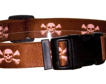 Brown with Pink Skulls Standard Collar