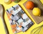 Staring Cats Cute Illustrated Weird Fat Cat Patterned Tea Towel Dish Cloth