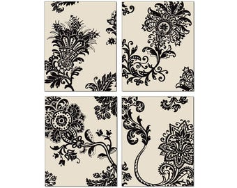 French Country Stylized Floral Wall Art,  Black Motif Cream Background, 11x14 Matted Print Set of 4, Wall Décor,  Matching Prints Available