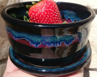 Handmade Stoneware Ceramic Pottery Berry Bowl and Plate Set