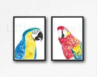 Macaw Parrot Print Set Watercolor Prints Bird Art Illustration Macaw Lover Gift Colorful Tropical Birds Home Decor 2 Art Prints Unframed